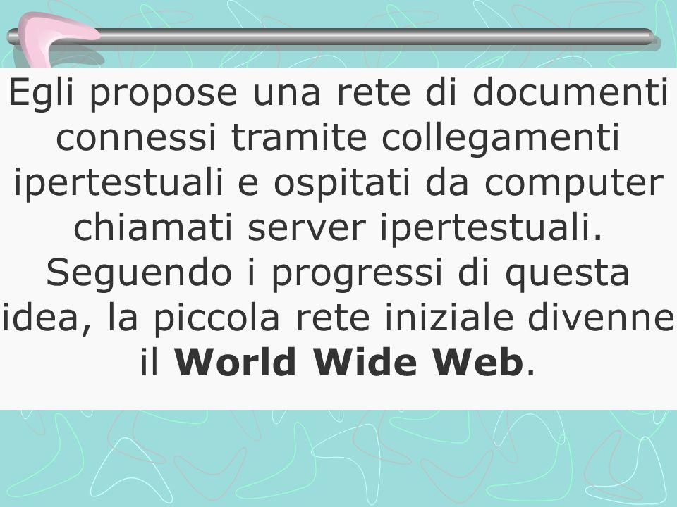 Egli propose una rete di documenti connessi tramite collegamenti ipertestuali e ospitati da computer chiamati server ipertestuali. Seguendo i progress