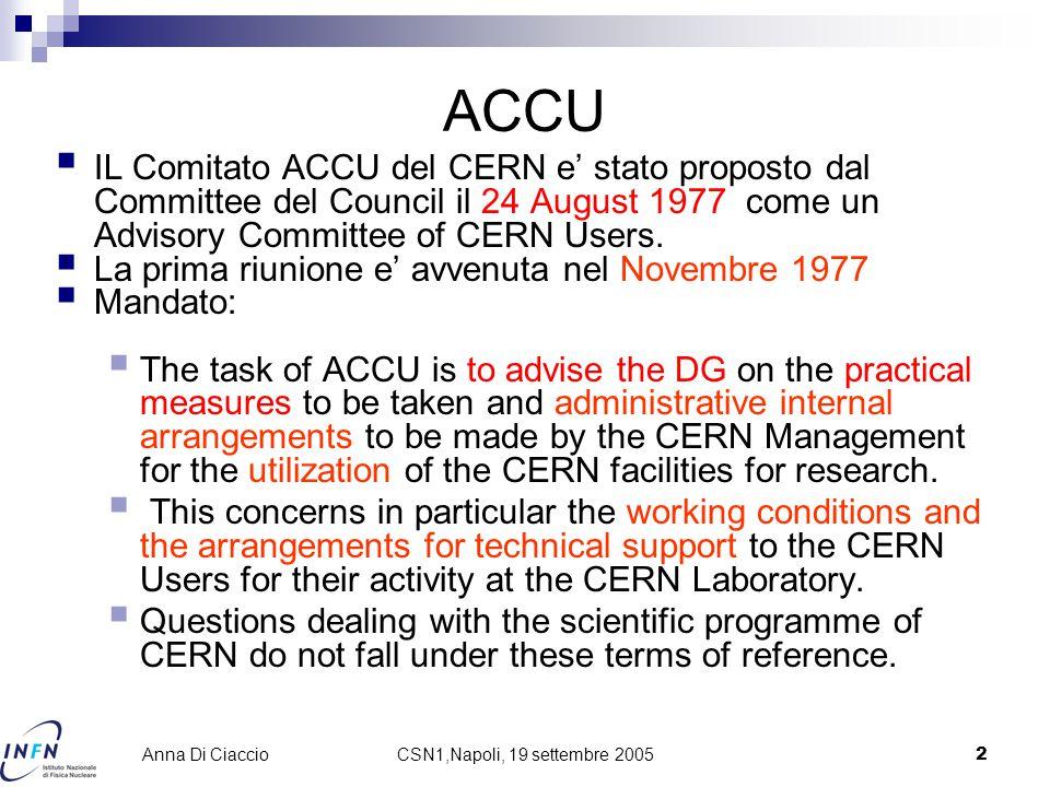 2 Anna Di Ciaccio ACCU  IL Comitato ACCU del CERN e' stato proposto dal Committee del Council il 24 August 1977 come un Advisory Committee of CERN Users.