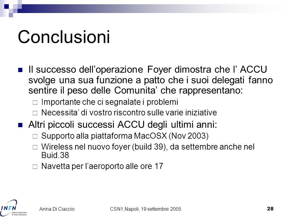 CSN1,Napoli, 19 settembre 200528 Anna Di Ciaccio Conclusioni Il successo dell'operazione Foyer dimostra che l' ACCU svolge una sua funzione a patto che i suoi delegati fanno sentire il peso delle Comunita' che rappresentano:  Importante che ci segnalate i problemi  Necessita' di vostro riscontro sulle varie iniziative Altri piccoli successi ACCU degli ultimi anni:  Supporto alla piattaforma MacOSX (Nov 2003)  Wireless nel nuovo foyer (build 39), da settembre anche nel Buid.38  Navetta per l'aeroporto alle ore 17