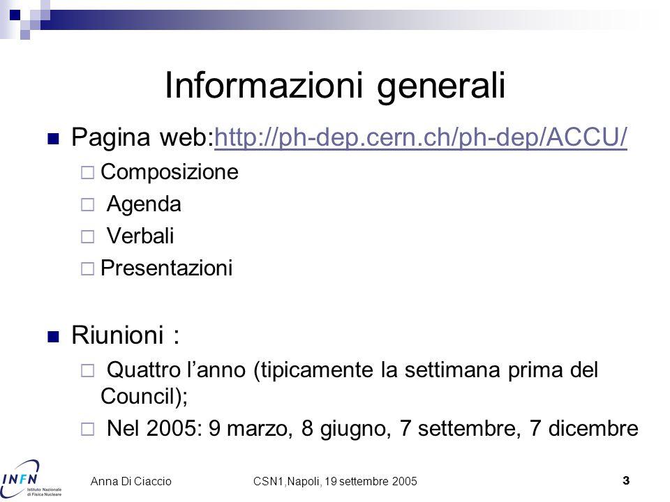 CSN1,Napoli, 19 settembre 20053 Anna Di Ciaccio Informazioni generali Pagina web:http://ph-dep.cern.ch/ph-dep/ACCU/http://ph-dep.cern.ch/ph-dep/ACCU/  Composizione  Agenda  Verbali  Presentazioni Riunioni :  Quattro l'anno (tipicamente la settimana prima del Council);  Nel 2005: 9 marzo, 8 giugno, 7 settembre, 7 dicembre