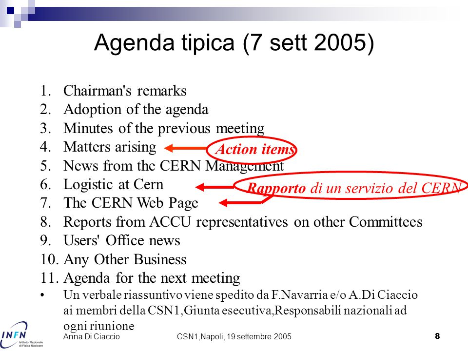 CSN1,Napoli, 19 settembre 20058 Anna Di Ciaccio Agenda tipica (7 sett 2005) 1.Chairman's remarks 2.Adoption of the agenda 3.Minutes of the previous me