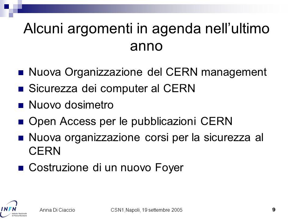 CSN1,Napoli, 19 settembre 20059 Anna Di Ciaccio Alcuni argomenti in agenda nell'ultimo anno Nuova Organizzazione del CERN management Sicurezza dei com