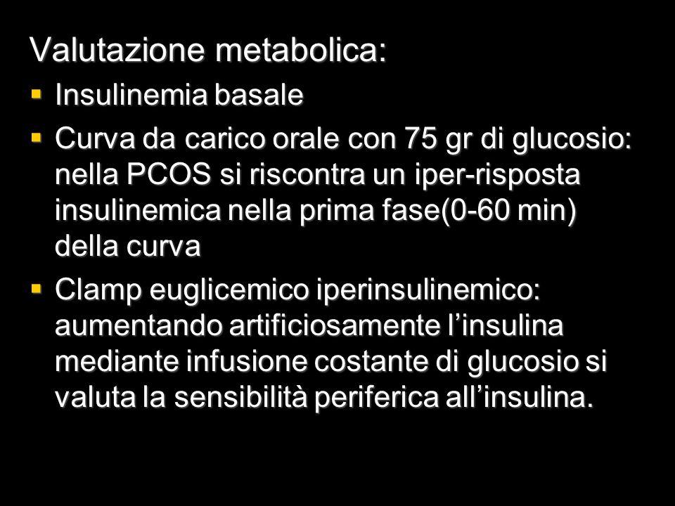 Valutazione metabolica:  Insulinemia basale  Curva da carico orale con 75 gr di glucosio: nella PCOS si riscontra un iper-risposta insulinemica nell