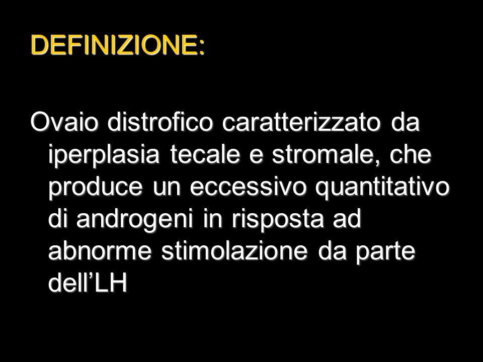 Quadro ormonale:  >LH  LH/FSH >1  Aumento di androstenedione,DHEA, testosterone  >estrone/estradiolo  FSH feed-back – dell'estrone e feed-back – dell'estrone e < sensibilità dell'FSH al GnRH)  >resistenza all'insulina  del testosterone e per l'effetto dell'> dell'insulina sul fegato