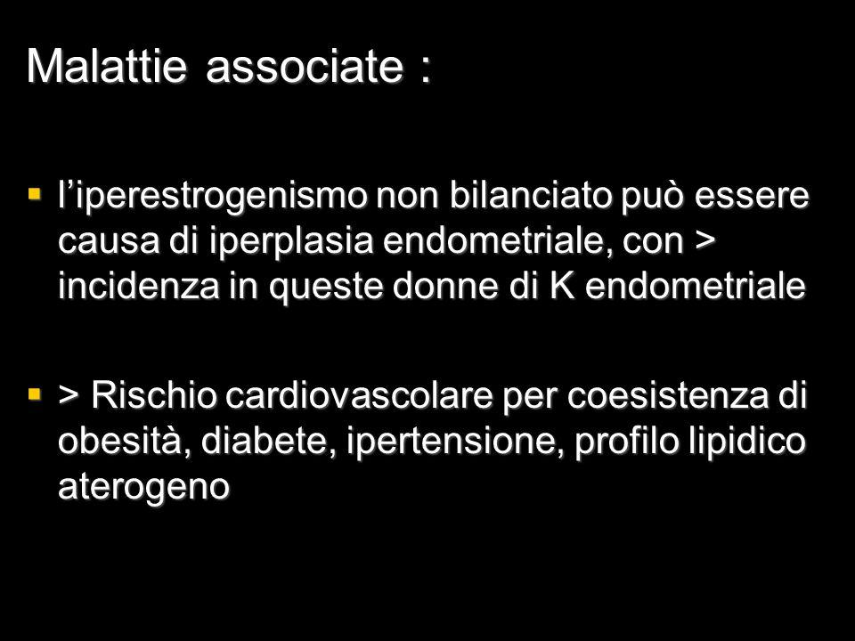 Malattie associate :  l'iperestrogenismo non bilanciato può essere causa di iperplasia endometriale, con > incidenza in queste donne di K endometrial