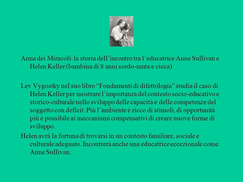Anna dei Miracoli: la storia dell'incontro tra l'educatrice Anne Sullivan e Helen Keller (bambina di 8 anni sordo-muta e cieca) Lev Vygostky nel suo l