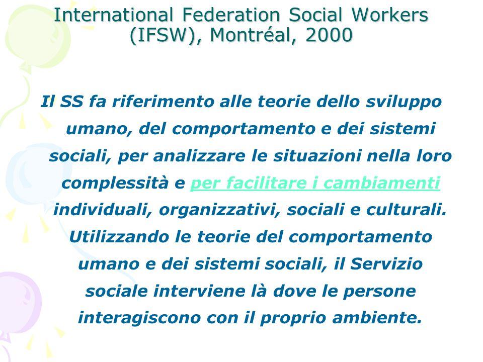 International Federation Social Workers (IFSW), Montréal, 2000 Il SS fa riferimento alle teorie dello sviluppo umano, del comportamento e dei sistemi