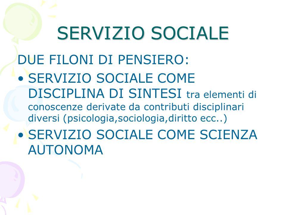 SERVIZIO SOCIALE DUE FILONI DI PENSIERO: SERVIZIO SOCIALE COME DISCIPLINA DI SINTESI tra elementi di conoscenze derivate da contributi disciplinari di