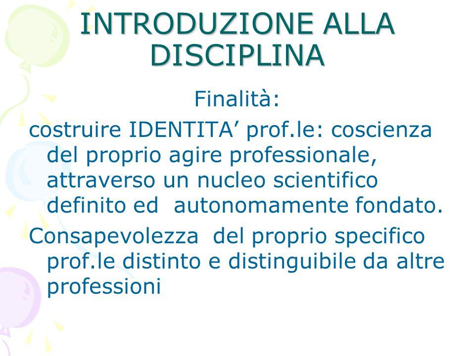 INTRODUZIONE ALLA DISCIPLINA Finalità: costruire IDENTITA' prof.le: coscienza del proprio agire professionale, attraverso un nucleo scientifico defini