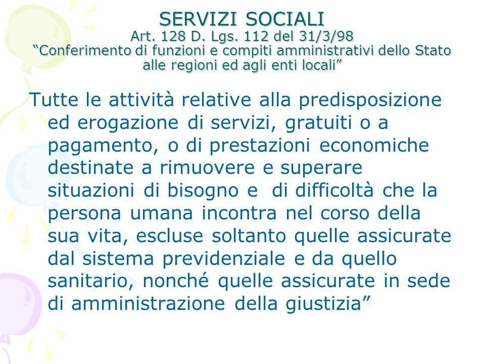 """SERVIZI SOCIALI Art. 128 D. Lgs. 112 del 31/3/98 """"Conferimento di funzioni e compiti amministrativi dello Stato alle regioni ed agli enti locali"""" Tutt"""