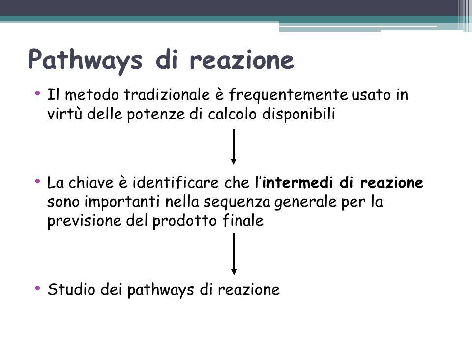 Pathways di reazione Il metodo tradizionale è frequentemente usato in virtù delle potenze di calcolo disponibili La chiave è identificare che l'interm