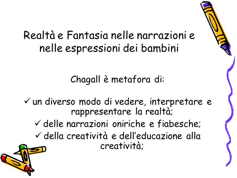 Realtà e Fantasia nelle narrazioni e nelle espressioni dei bambini Chagall è metafora di: un diverso modo di vedere, interpretare e rappresentare la realtà; delle narrazioni oniriche e fiabesche; della creatività e dell'educazione alla creatività;