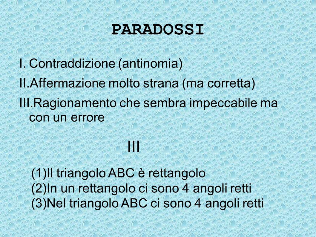 PARADOSSI I.Contraddizione (antinomia) II.Affermazione molto strana (ma corretta) III.Ragionamento che sembra impeccabile ma con un errore III (1) Il