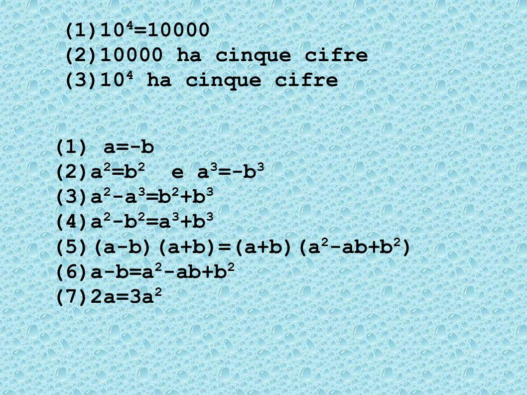 (1) 10 4 =10000 (2) 10000 ha cinque cifre (3) 10 4 ha cinque cifre (1) a=-b (2) a 2 =b 2 e a 3 =-b 3 (3) a 2 -a 3 =b 2 +b 3 (4) a 2 -b 2 =a 3 +b 3 (5) (a-b)(a+b)=(a+b)(a 2 -ab+b 2 ) (6) a-b=a 2 -ab+b 2 (7) 2a=3a 2