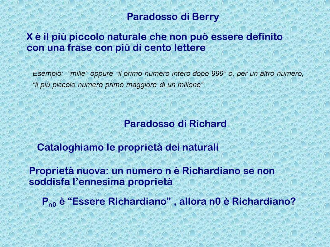 Paradosso di Berry X è il più piccolo naturale che non può essere definito con una frase con più di cento lettere Paradosso di Richard Cataloghiamo le proprietà dei naturali Proprietà nuova: un numero n è Richardiano se non soddisfa l'ennesima proprietà P n0 è Essere Richardiano , allora n0 è Richardiano.