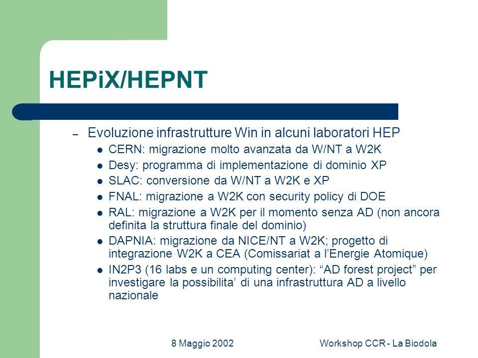 8 Maggio 2002Workshop CCR - La Biodola HEPiX/HEPNT – Evoluzione infrastrutture Win in alcuni laboratori HEP CERN: migrazione molto avanzata da W/NT a W2K Desy: programma di implementazione di dominio XP SLAC: conversione da W/NT a W2K e XP FNAL: migrazione a W2K con security policy di DOE RAL: migrazione a W2K per il momento senza AD (non ancora definita la struttura finale del dominio) DAPNIA: migrazione da NICE/NT a W2K; progetto di integrazione W2K a CEA (Comissariat a l'Energie Atomique) IN2P3 (16 labs e un computing center): AD forest project per investigare la possibilita' di una infrastruttura AD a livello nazionale
