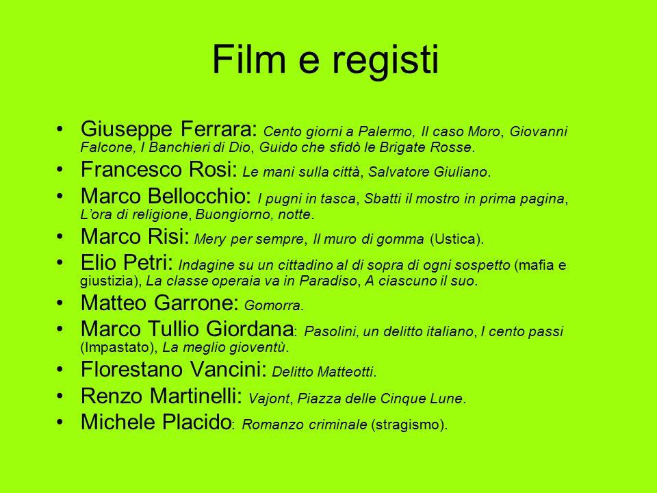 Film e registi Giuseppe Ferrara: Cento giorni a Palermo, Il caso Moro, Giovanni Falcone, I Banchieri di Dio, Guido che sfidò le Brigate Rosse. Frances