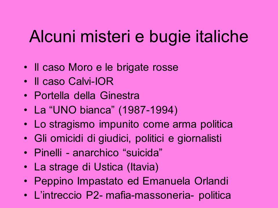 """Alcuni misteri e bugie italiche Il caso Moro e le brigate rosse Il caso Calvi-IOR Portella della Ginestra La """"UNO bianca"""" (1987-1994) Lo stragismo imp"""