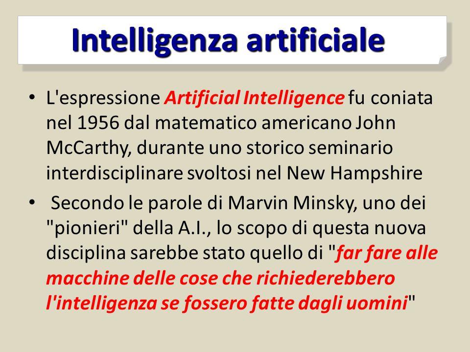 L'espressione Artificial Intelligence fu coniata nel 1956 dal matematico americano John McCarthy, durante uno storico seminario interdisciplinare svol