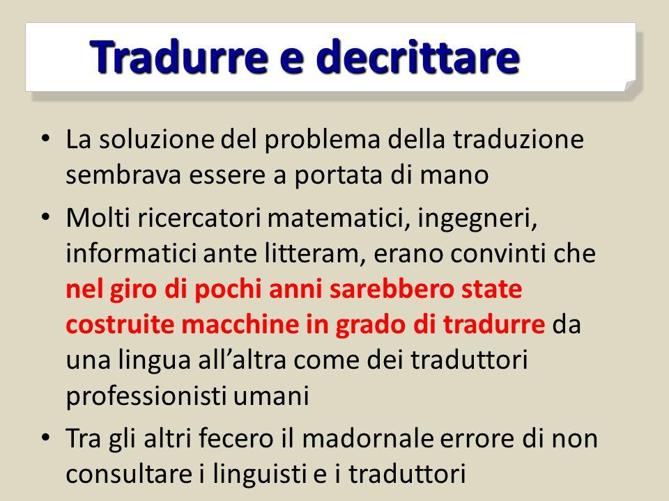 La soluzione del problema della traduzione sembrava essere a portata di mano Molti ricercatori matematici, ingegneri, informatici ante litteram, erano