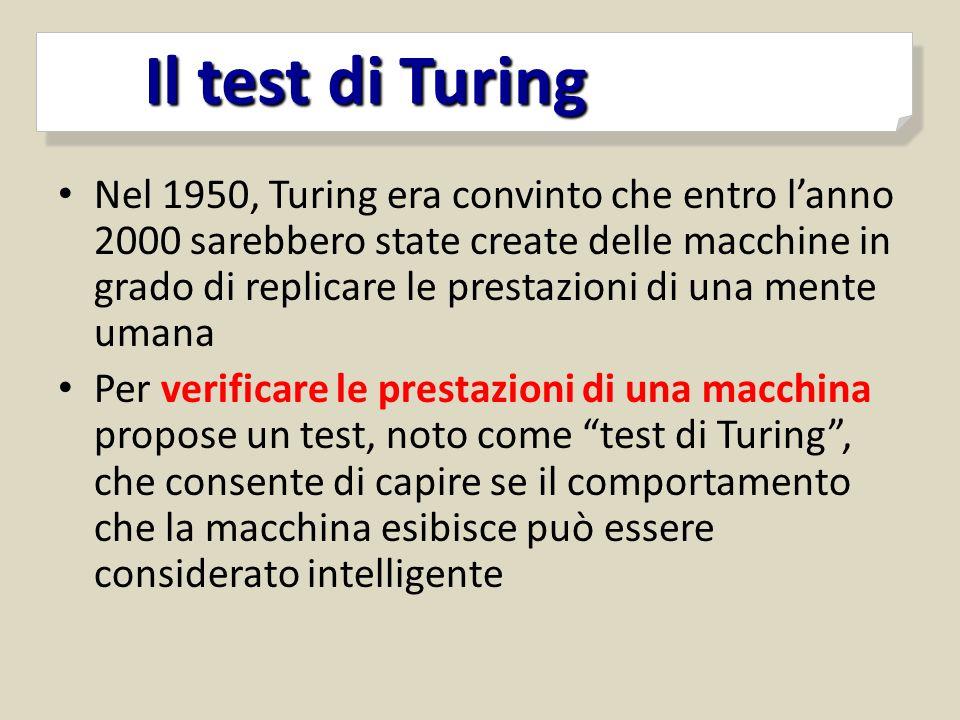 Nel 1950, Turing era convinto che entro l'anno 2000 sarebbero state create delle macchine in grado di replicare le prestazioni di una mente umana Per