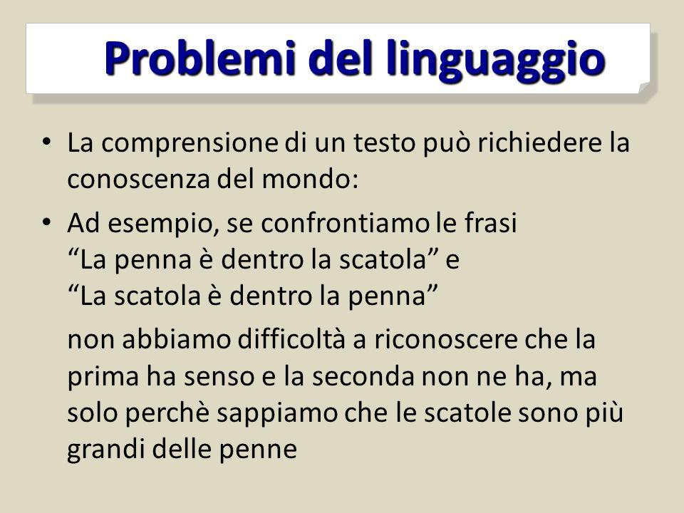 Problemi del linguaggio Problemi del linguaggio La comprensione di un testo può richiedere la conoscenza del mondo: Ad esempio, se confrontiamo le fra