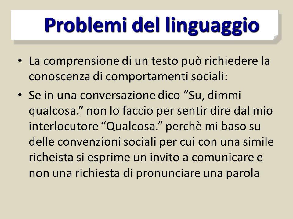 Problemi del linguaggio Problemi del linguaggio La comprensione di un testo può richiedere la conoscenza di comportamenti sociali: Se in una conversaz