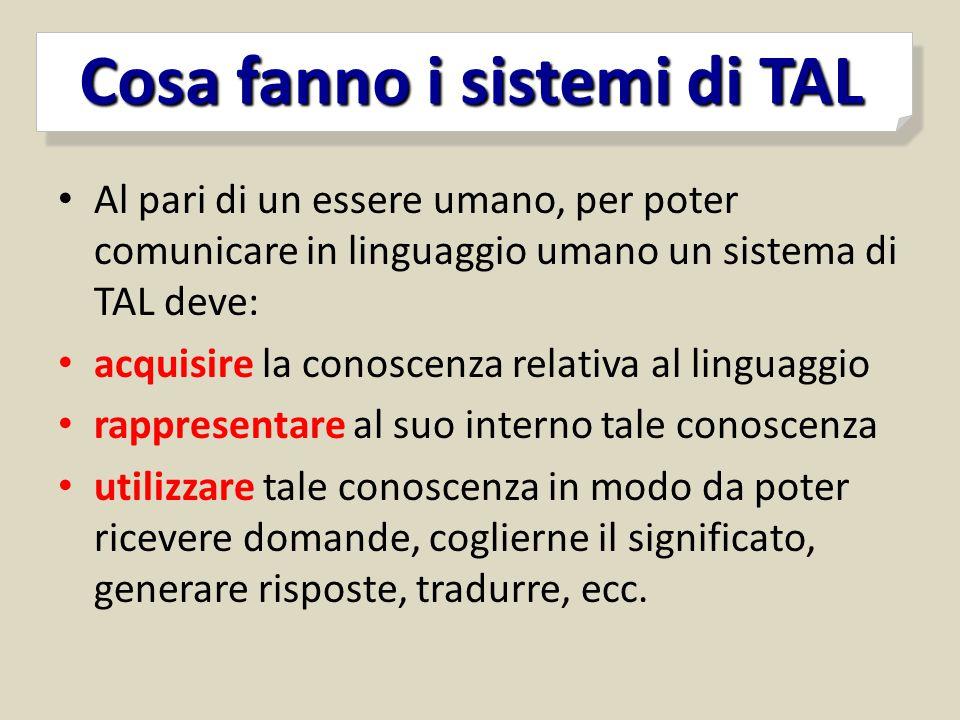Cosa fanno i sistemi di TAL Cosa fanno i sistemi di TAL Al pari di un essere umano, per poter comunicare in linguaggio umano un sistema di TAL deve: a
