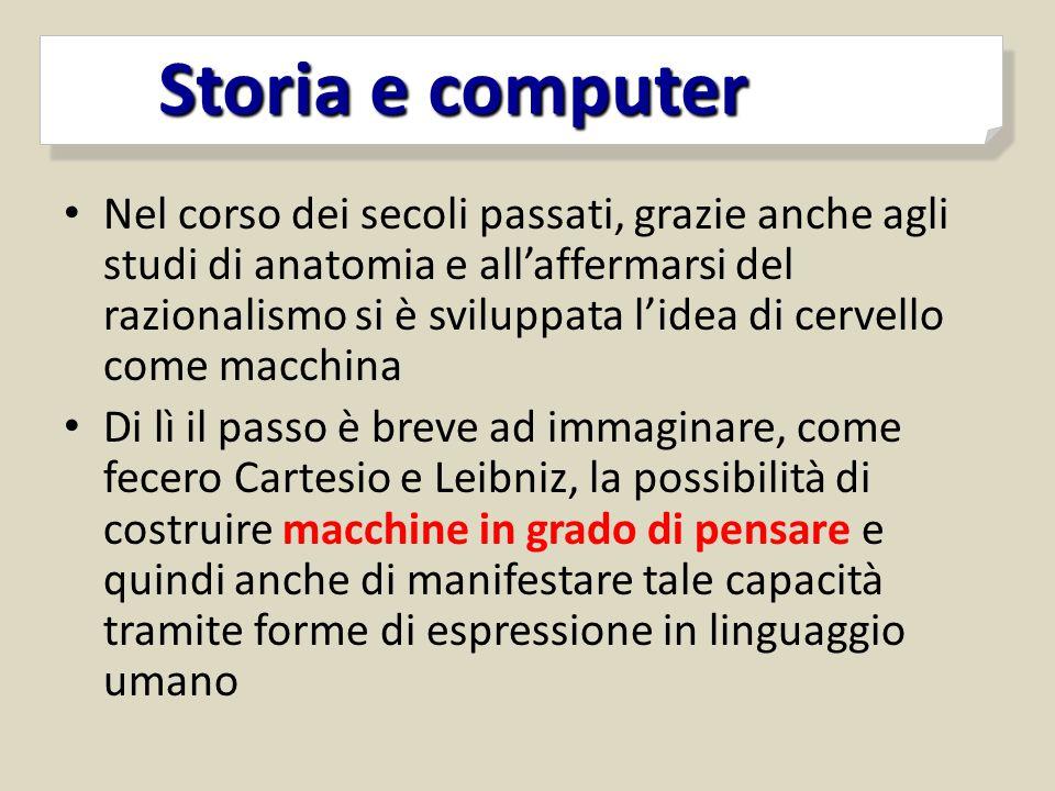 Storia e computer Storia e computer Nel corso dei secoli passati, grazie anche agli studi di anatomia e all'affermarsi del razionalismo si è sviluppat