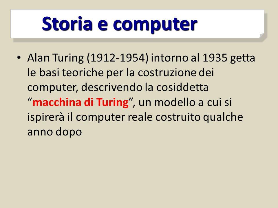 """Alan Turing (1912-1954) intorno al 1935 getta le basi teoriche per la costruzione dei computer, descrivendo la cosiddetta """"macchina di Turing"""", un mod"""