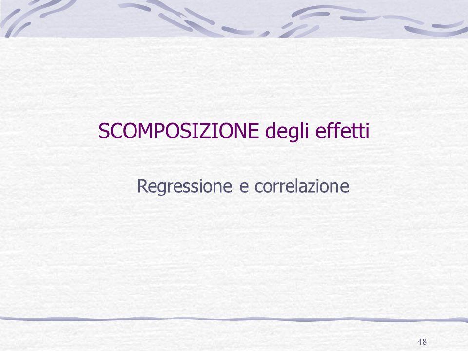 48 SCOMPOSIZIONE degli effetti Regressione e correlazione