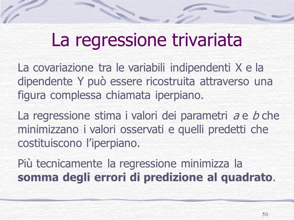 50 La regressione trivariata La covariazione tra le variabili indipendenti X e la dipendente Y può essere ricostruita attraverso una figura complessa chiamata iperpiano.
