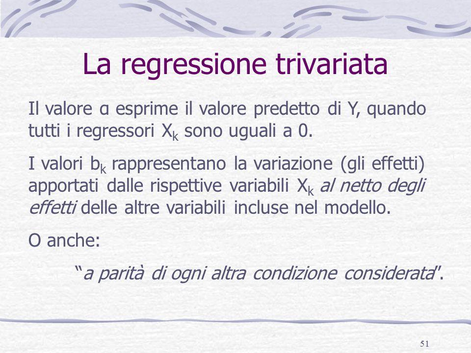 51 La regressione trivariata Il valore α esprime il valore predetto di Y, quando tutti i regressori X k sono uguali a 0.
