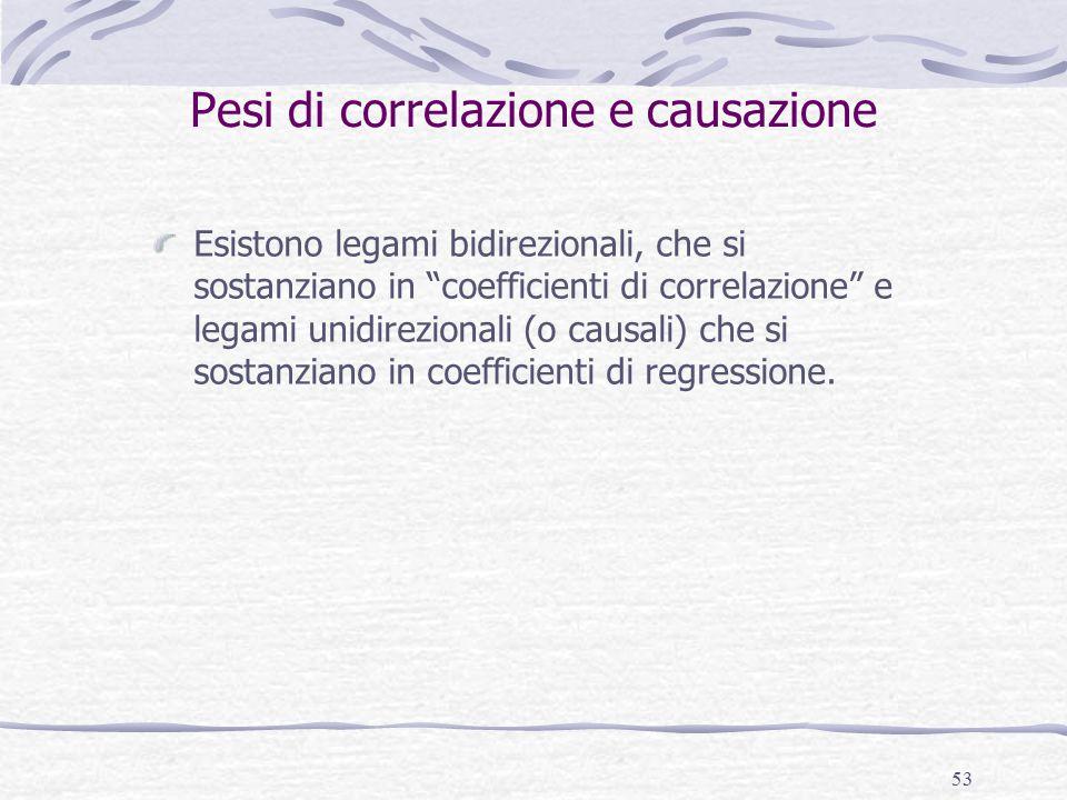 """53 Pesi di correlazione e causazione Esistono legami bidirezionali, che si sostanziano in """"coefficienti di correlazione"""" e legami unidirezionali (o ca"""
