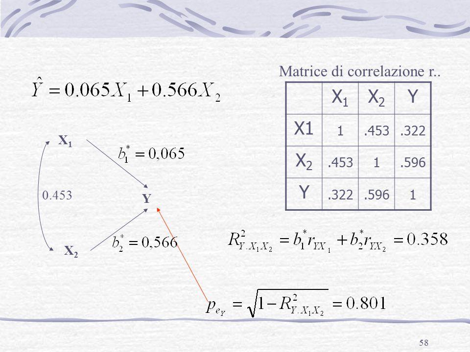 58 X1X1 X2X2 Y X1X1 X2X2 Y X1 1.453.322 X2X2.4531.596 Y.322.5961 Matrice di correlazione r.. 0.453