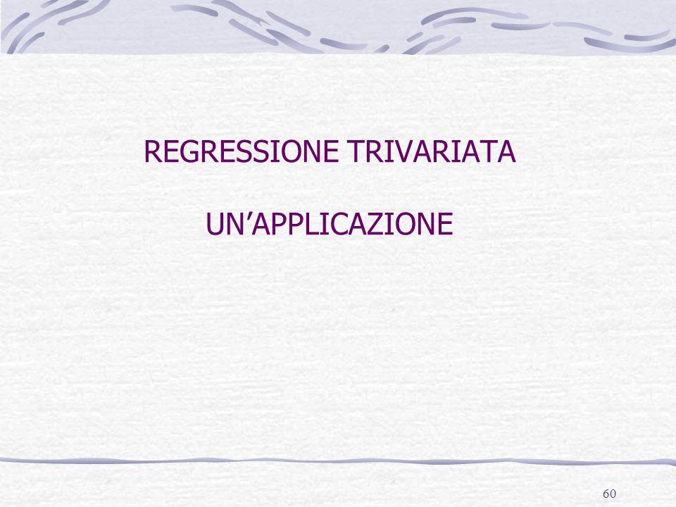 60 REGRESSIONE TRIVARIATA UN'APPLICAZIONE