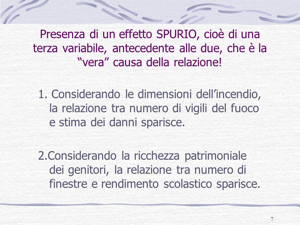 8 Posizione delle variabili Una volta ipotizzata una relazione tra due variabili X indipendente e Y dipendente , l'altra o le altre variabili considerate possono assumere quattro posizioni: variabili antecedenti, variabili intervenienti, variabili susseguenti, variabili concomitanti.
