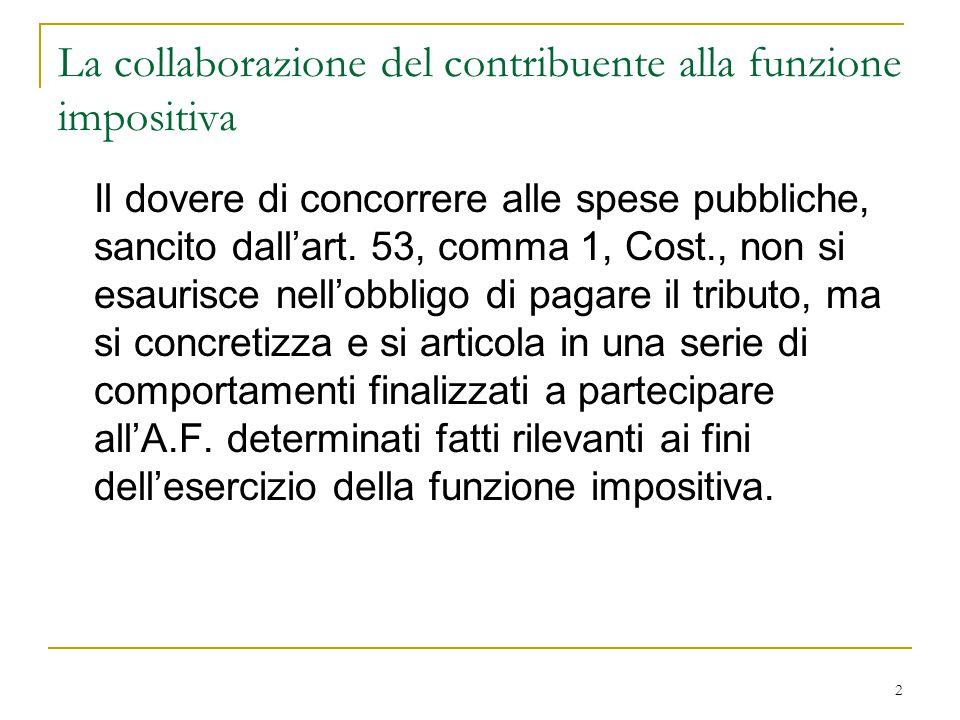 2 La collaborazione del contribuente alla funzione impositiva Il dovere di concorrere alle spese pubbliche, sancito dall'art. 53, comma 1, Cost., non