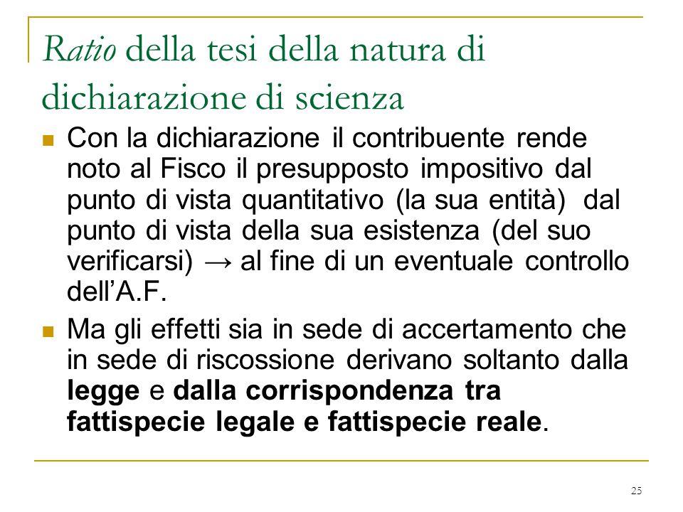 25 Ratio della tesi della natura di dichiarazione di scienza Con la dichiarazione il contribuente rende noto al Fisco il presupposto impositivo dal pu