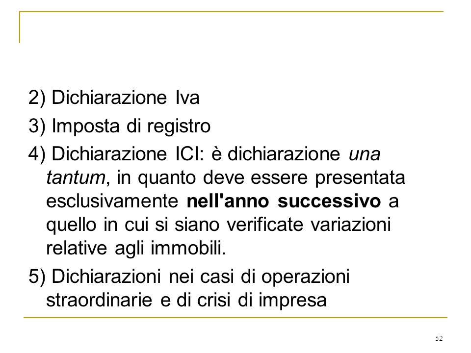 52 2) Dichiarazione Iva 3) Imposta di registro 4) Dichiarazione ICI: è dichiarazione una tantum, in quanto deve essere presentata esclusivamente nell'