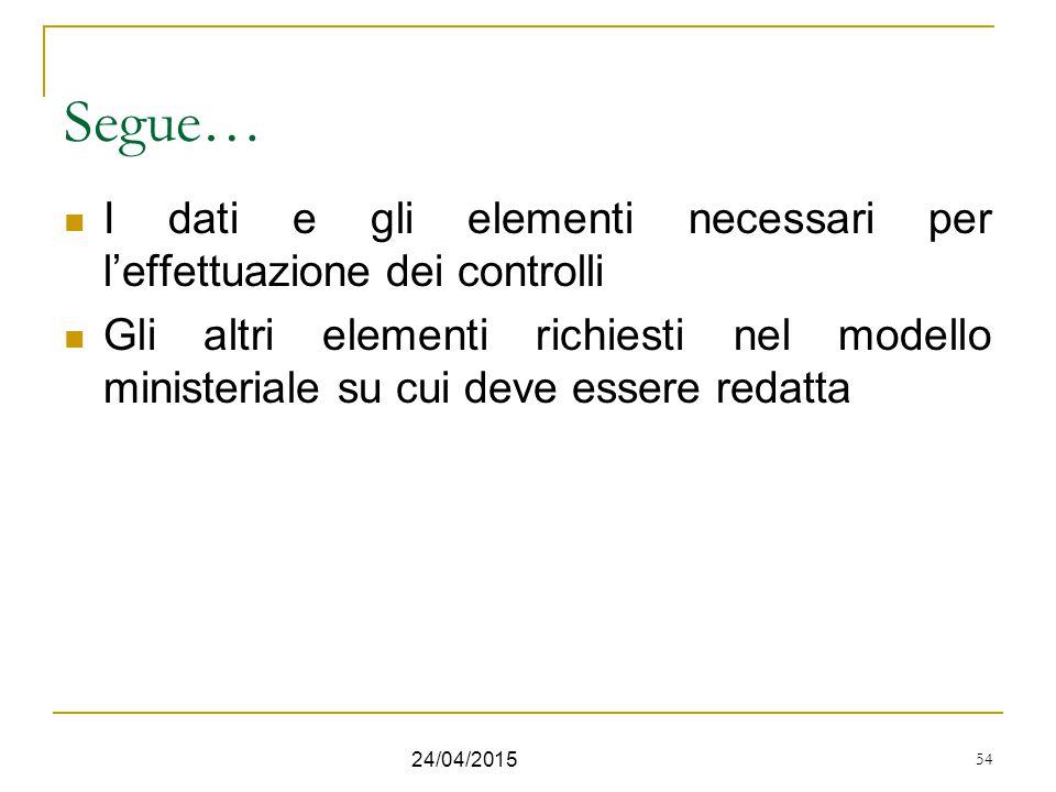 54 Segue… I dati e gli elementi necessari per l'effettuazione dei controlli Gli altri elementi richiesti nel modello ministeriale su cui deve essere r