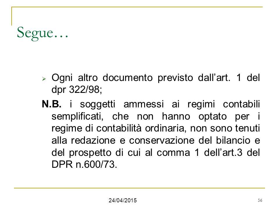 56 Segue…  Ogni altro documento previsto dall'art. 1 del dpr 322/98; N.B. i soggetti ammessi ai regimi contabili semplificati, che non hanno optato p