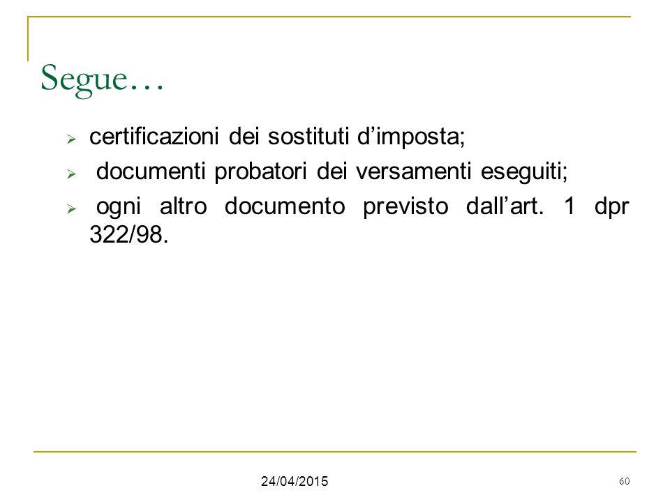 60 Segue…  certificazioni dei sostituti d'imposta;  documenti probatori dei versamenti eseguiti;  ogni altro documento previsto dall'art. 1 dpr 322