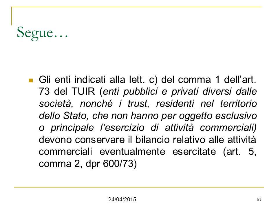 61 Segue… Gli enti indicati alla lett. c) del comma 1 dell'art. 73 del TUIR (enti pubblici e privati diversi dalle società, nonché i trust, residenti