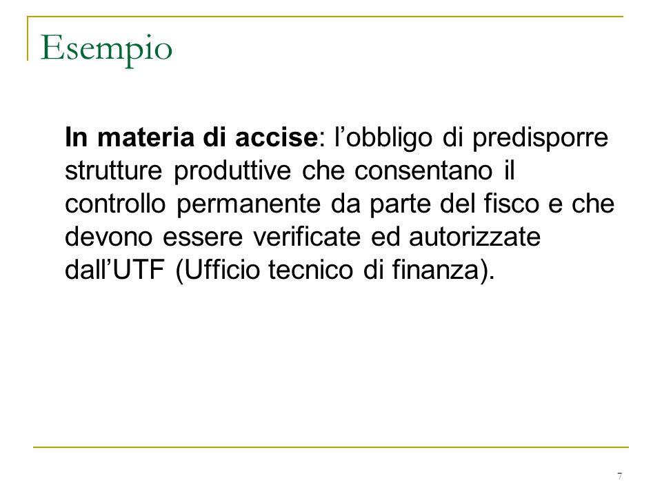 7 Esempio In materia di accise: l'obbligo di predisporre strutture produttive che consentano il controllo permanente da parte del fisco e che devono e