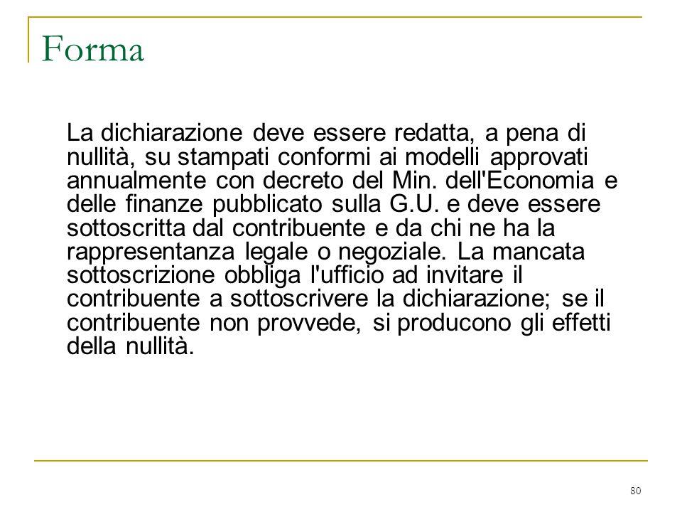 80 Forma La dichiarazione deve essere redatta, a pena di nullità, su stampati conformi ai modelli approvati annualmente con decreto del Min. dell'Econ
