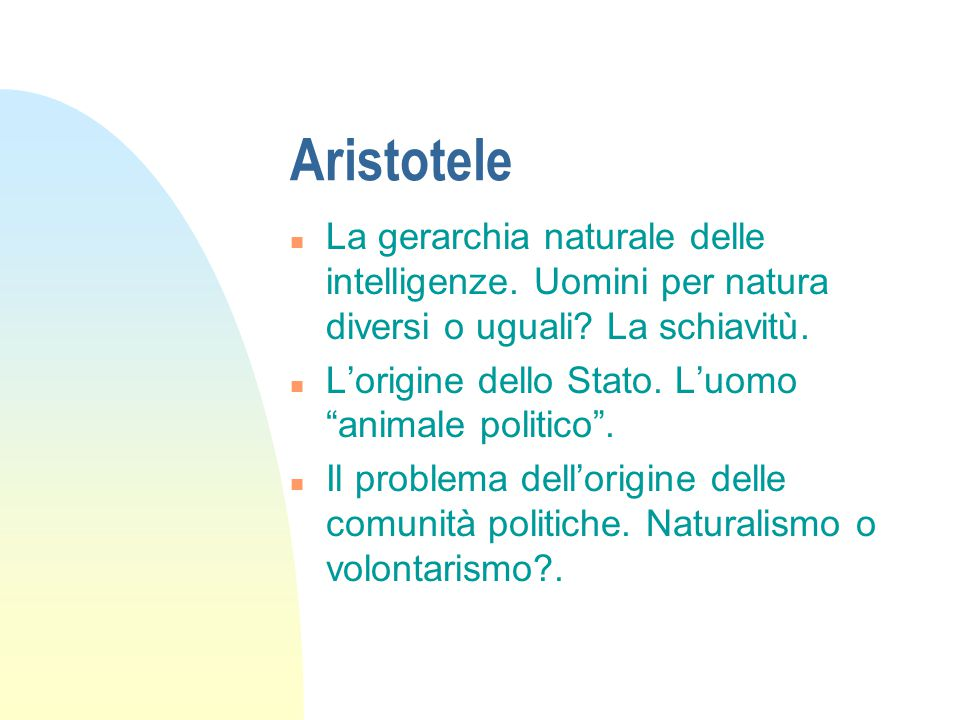Aristotele n La gerarchia naturale delle intelligenze.