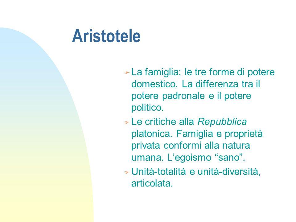 Aristotele F La teoria delle forme di governo.F Il criterio quantitativo: l'uno, i pochi, i molti.