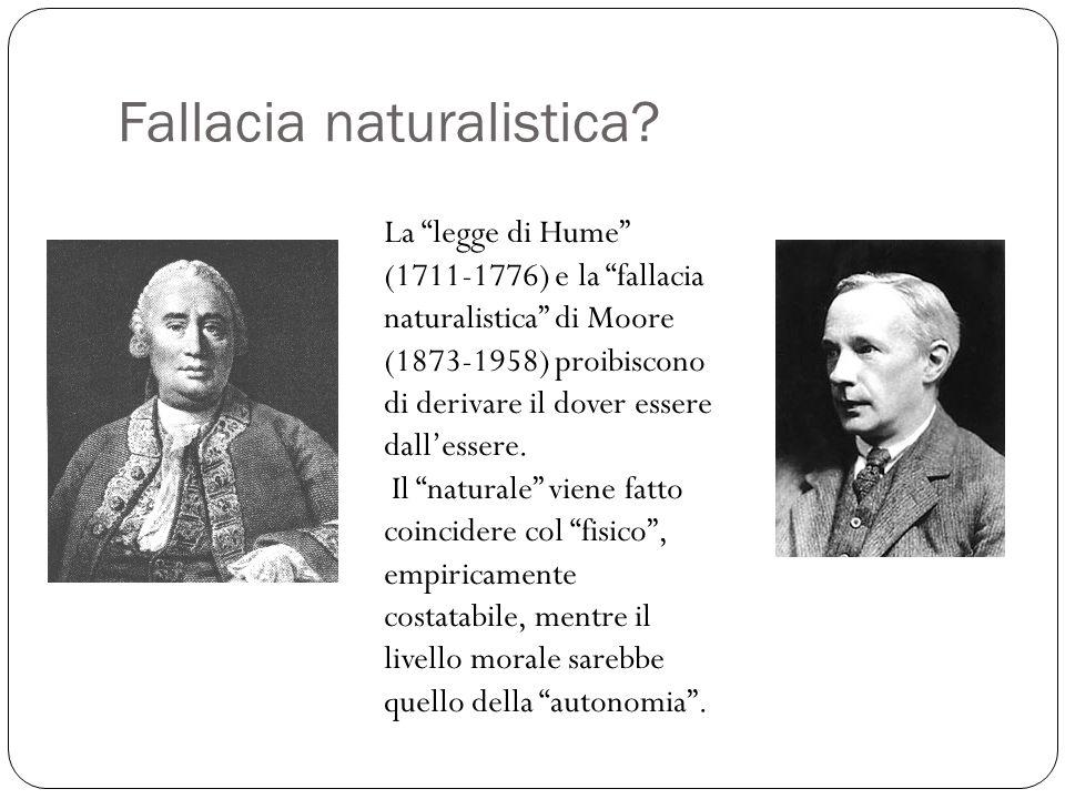 """Fallacia naturalistica? La """"legge di Hume"""" (1711-1776) e la """"fallacia naturalistica"""" di Moore (1873-1958) proibiscono di derivare il dover essere dall"""