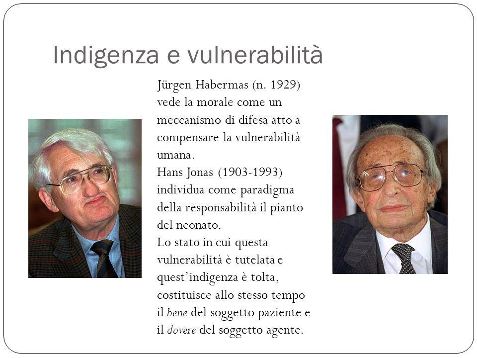 Indigenza e vulnerabilità Jürgen Habermas (n. 1929) vede la morale come un meccanismo di difesa atto a compensare la vulnerabilità umana. Hans Jonas (